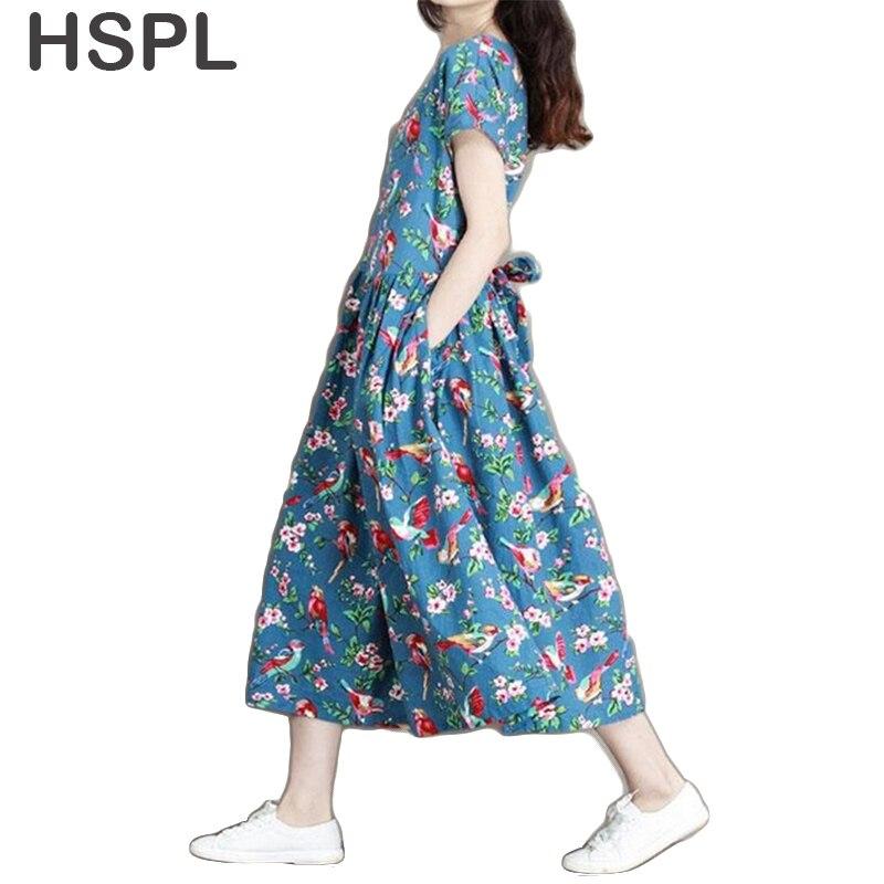HSPL Women Dress 2017 Ladies Tunic Casual Plus Floral Retro Vintage  Cotton Linen   Loose Flower bayan elbise New Style  Dresses