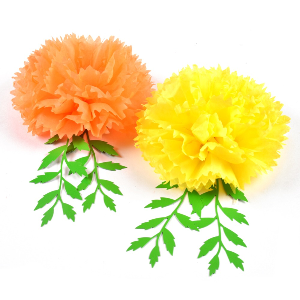Day Of The Dead Marigold Hanging Paper Flowers Leaves Yellow Orange