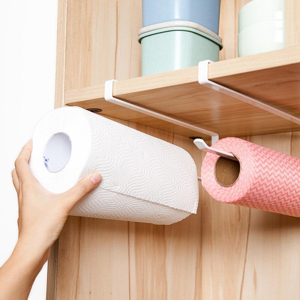 Kitchen Under Cabinet Towel Cup Paper Hanger Rack Storage Organizer Shelf Holder
