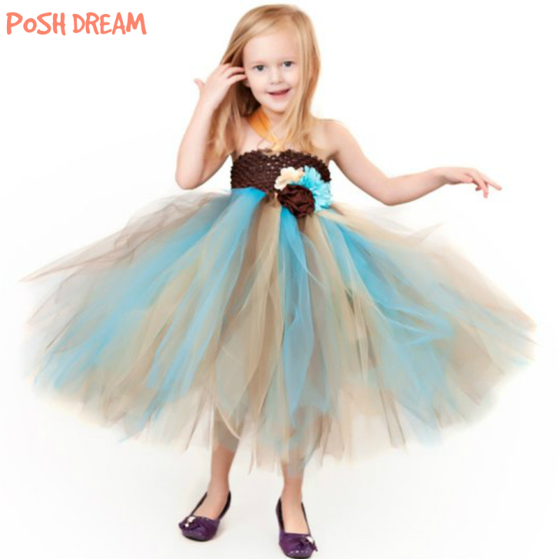 POSH DREAMM Brown Gold And Turquoise Flower Girl Tutu