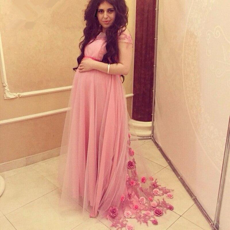 estilo popular diseño moderno colección completa €130.71 13% de DESCUENTO|Venta caliente 2019 manga larga Rosa vestidos de  noche para mujeres embarazadas hecho a mano flores de maternidad vestidos  de ...