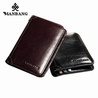 ManBang 100 Genuine Leather Wallet Fashion Short Bifold Men Wallet Casual Soild Men Wallets With Coin