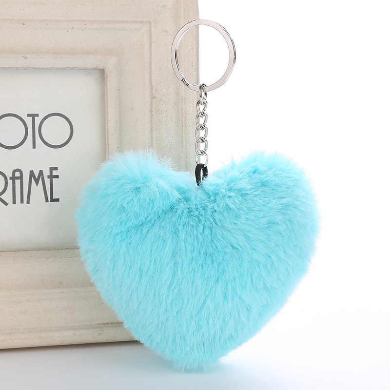 Fofo Fur Pompom Keychain Macio Forma de Coração Cor Sólida Faux Pele De Coelho Bola Pompom Bolsa do Presente do Anel Chave Do Carro Acessórios MQ26