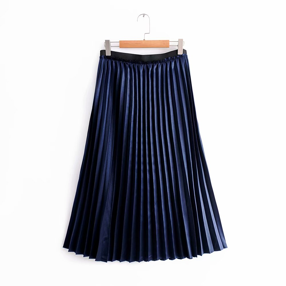 ae84f38524e 2018 New Women Vintage solid color Metallic pleated skirt ladies fashion  vestidos casual business chic mid-calf skirts QUN163