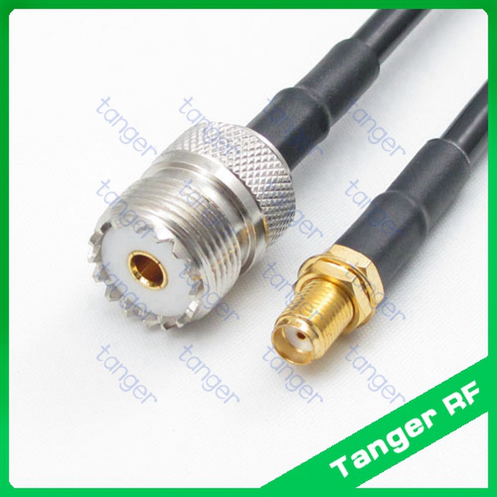 Hot selling UHF female jack SL16 SO239 to SMA female jack straight RF RG58 Pigtail Jumper Coaxial Cable 3feet 100cm High Quality rp sma female to y type 2x ip 9 ms156 male splitter combiner cable pigtail rg316 one sma point 2 ms156 connector for lte yota