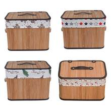 Floral Laundry Basket Bamboo Woven Dirty Clothes Storage Basket Large With Cover Housewares Cloth Toys Storage Box(China)