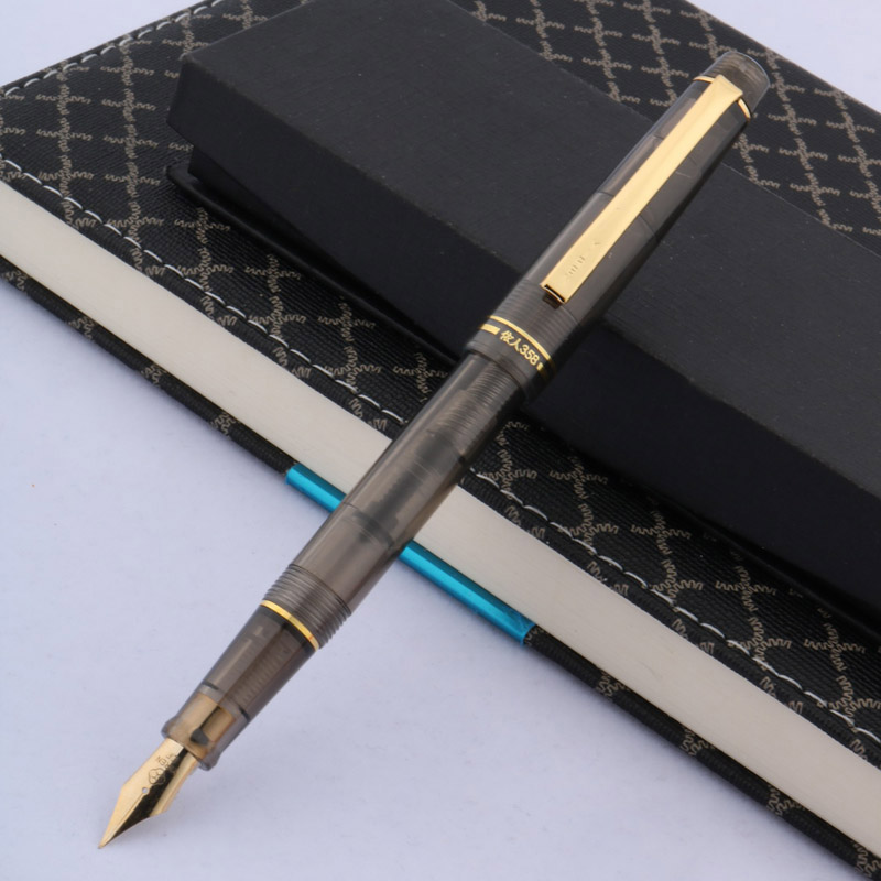 Black Classic Rotation Design Stationary School & Writing 358 Golden Plastic Fountain Pen