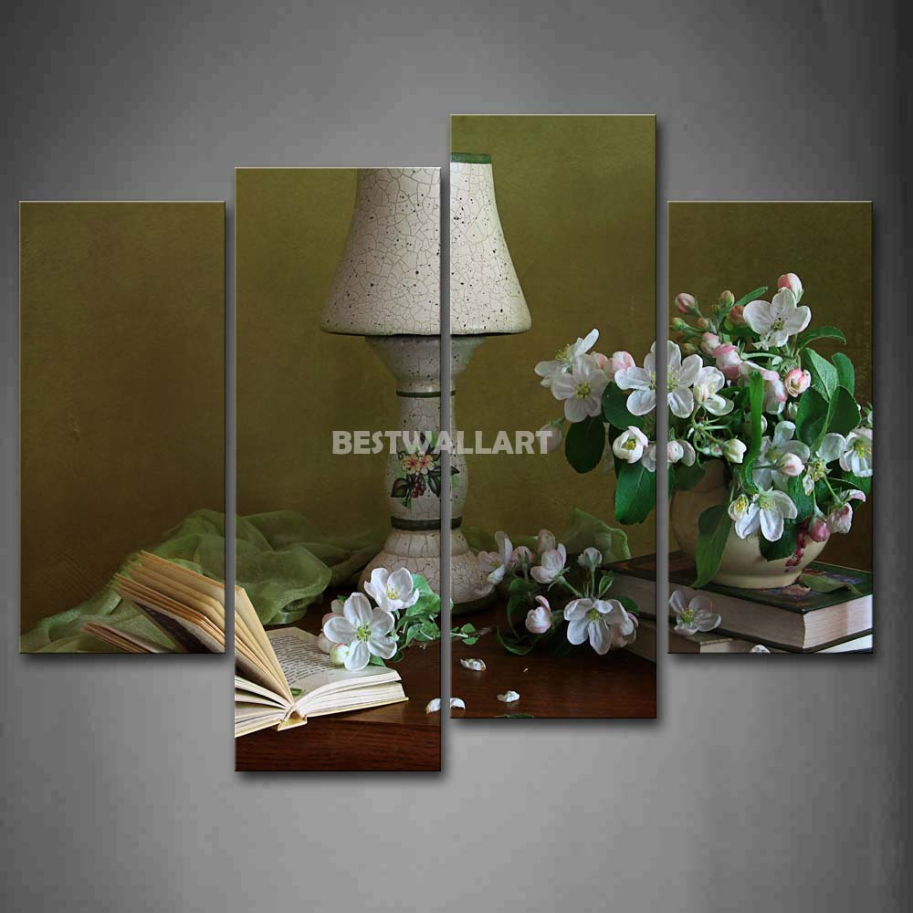 still life flower table lamp and book on desk 4 piece painting on. Black Bedroom Furniture Sets. Home Design Ideas