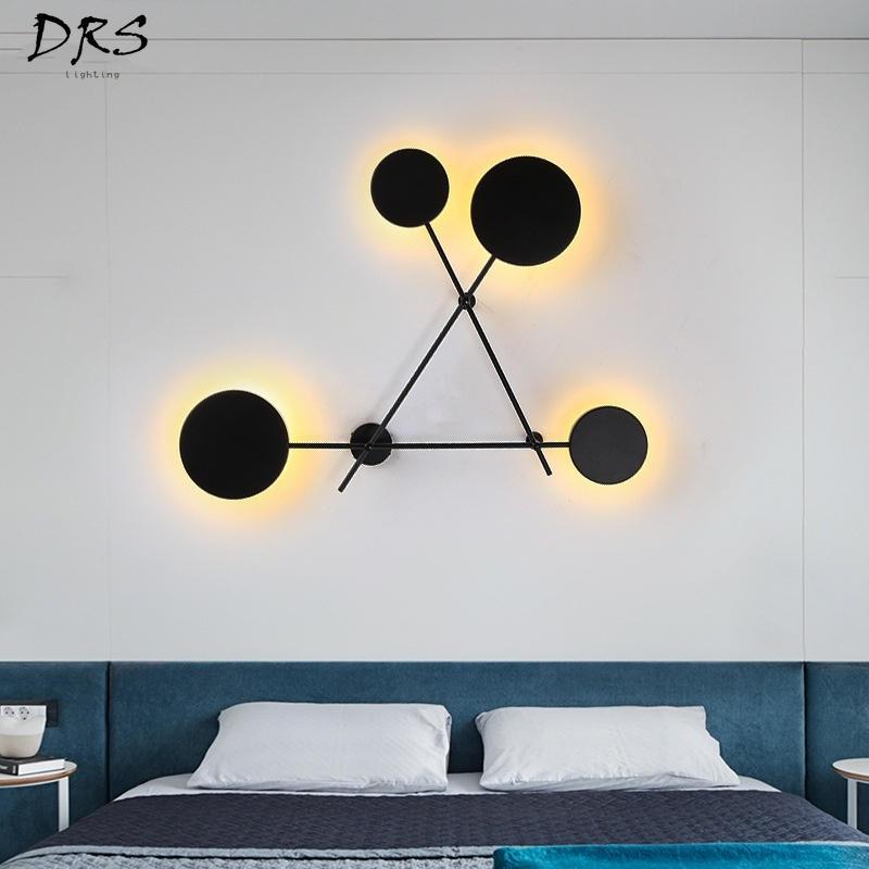 Modern Nordic Round Wall Lamps Bedroom Bedside Lamp Led Wall Sconce Light Fixtures Black Iron Luminaire Indoor Loft Home Decor LED Indoor Wall Lamps     - title=