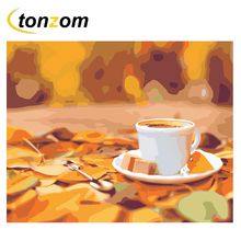 RIHE Coffee Cup Diy Painting By Numbers Abstract Leaf Oil On Canvas Hand Painted Cuadros Decoracion Acrylic Paint Art