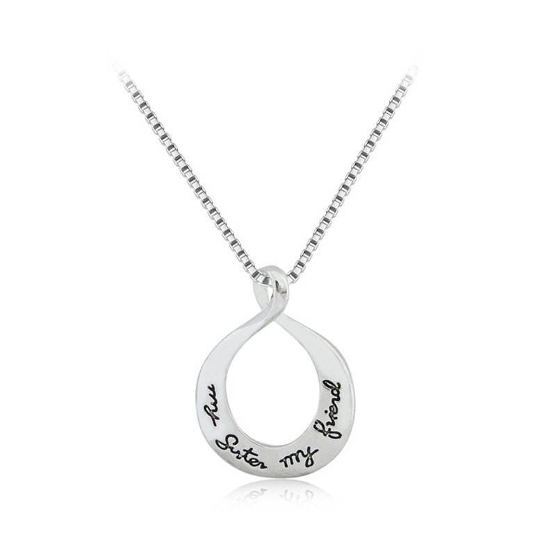 Circle engraving pendants promotion shop for promotional circle new best friends circle pendant statement necklace my sister my friend engraving silver plated necklaces for women jewelry mujer mozeypictures Image collections