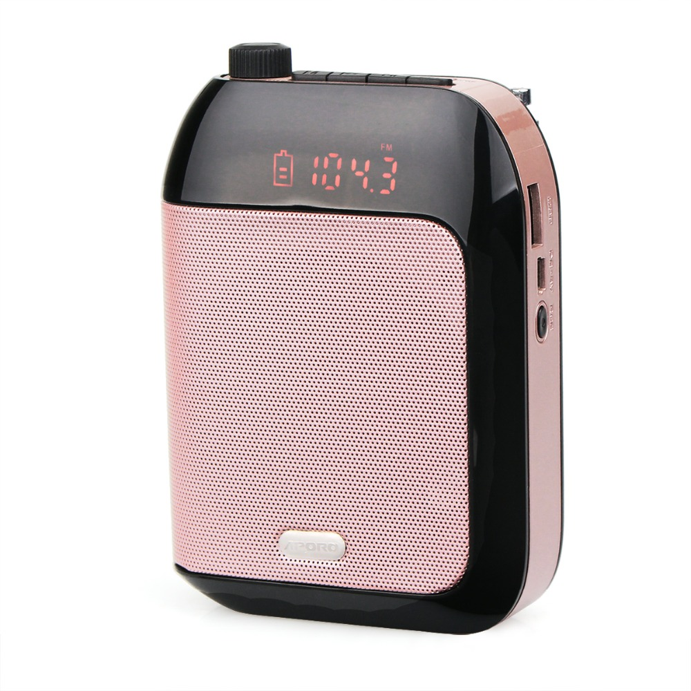 1pcs APORO T9 Pink15W Portable Voice Amplifier Loudspeaker with FM Radio MP3 Player Voice Recording for Teacher Training 10pcs retekess v115 fm am sw shortwave radio receiver with mp3 player rec voice recorder sleep timer
