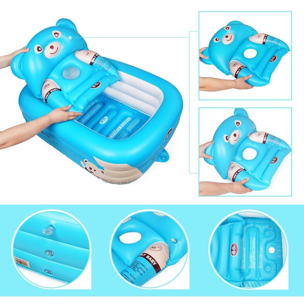 Baignoire bébé bébé baignoire gonflable pliable grande piscine de bain épaissie pataugeoire pour assis et couché - 5