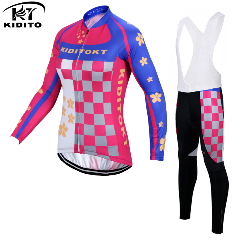 ФОТО KIDITOKT Stella Winter Thermal Fleece Women Cycling Jerseys/Super Warm Mountain Bicycle Uniform Bike Cycling Clothing