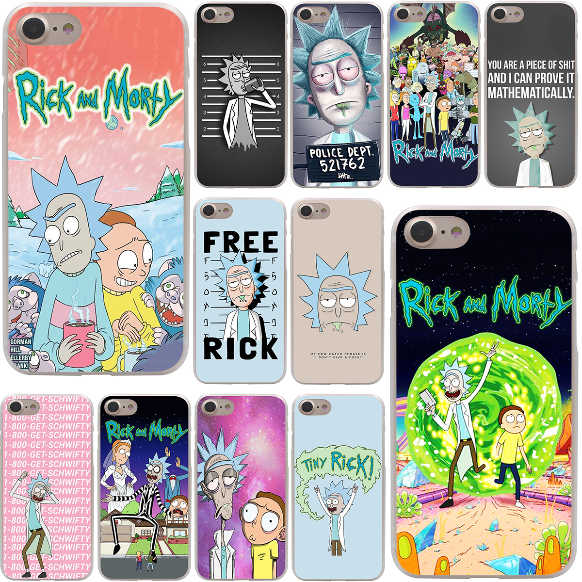 Rick and Morty Season Hard Case Transparent for iPhone 7 7 Plus 6 6s Plus 5 5S SE 5C 4 4S
