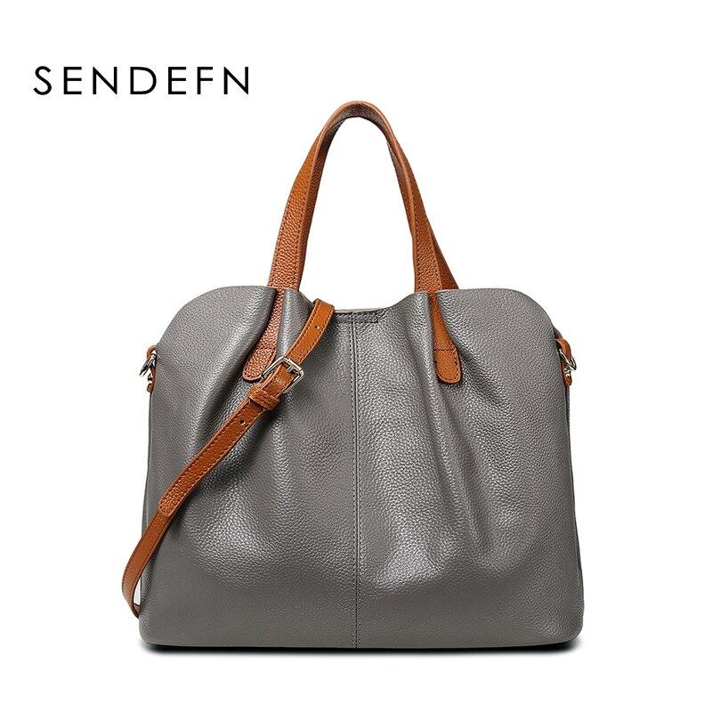 SENDEFN 2018 Women Handbag Famous Brand Genuine leather Luxury Shoulder Bag Large Capacity Crossbody Bags Women