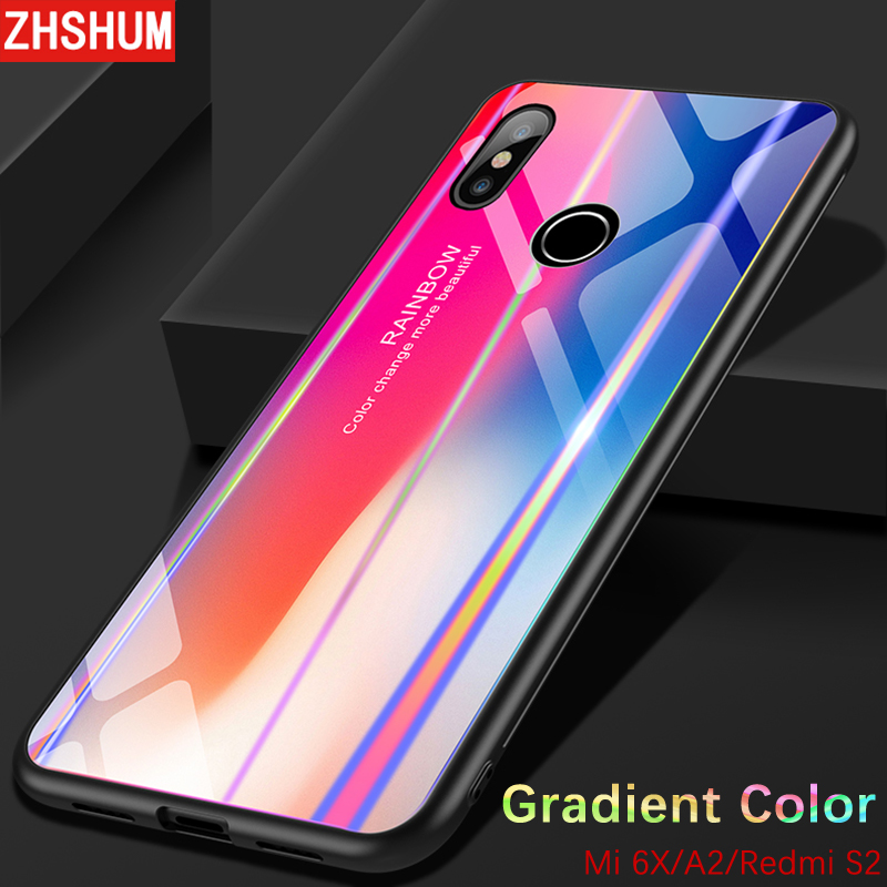 separation shoes 03170 8bad4 US $4.68 20% OFF|Gradient Color Tempered Glass Back Cover For Xiaomi MI A2  6X Redmi S2 Bumper Rainbow Bling Silicone Case 360 Full Xiaomi A2 Case-in  ...