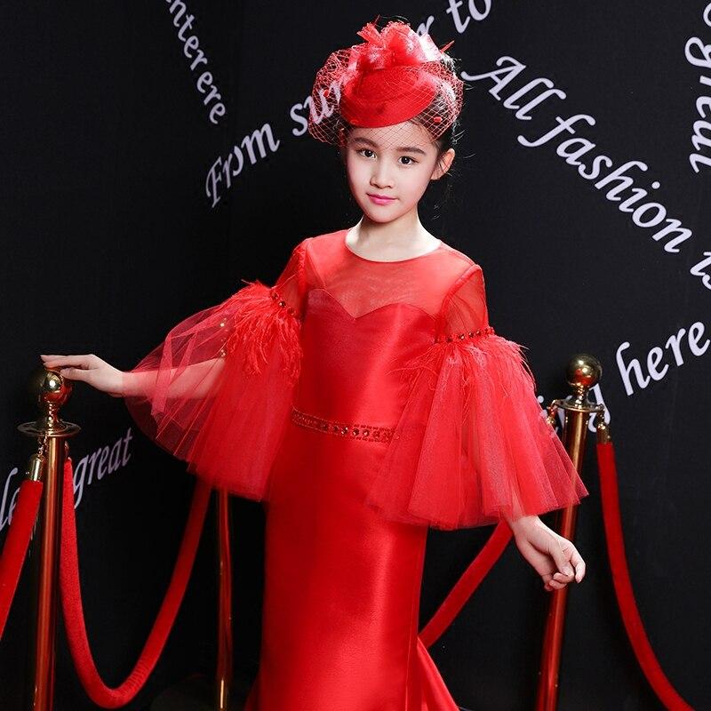 2018 Nieuwe Koninklijke Bloem Meisje Jurken Flare Mouwen Gown Kids Wedding Party Jurken Luxe Rode Prinses Gown Kinderen Formele Kostuum - 3