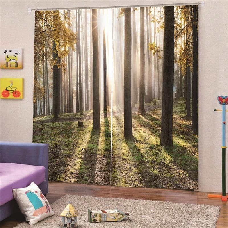3d digital print forest curtain faux linne plain for bedroom livingroom rideaux window customized home decor draps ap24