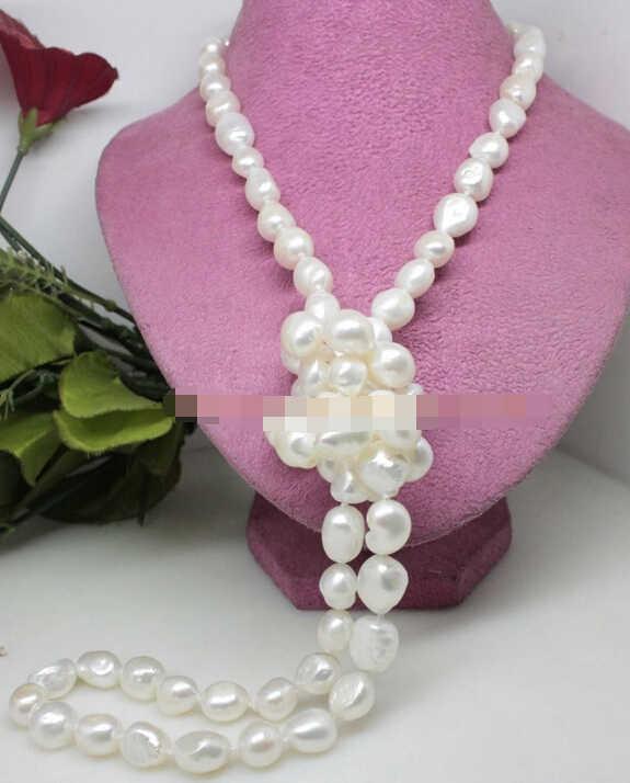 """Ddh003806 46 """"long beauté naturel blanc 8-9mm baroque perle collier à la main de mode"""
