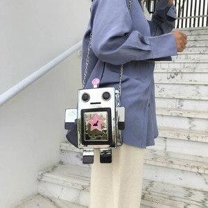 Image 5 - クリエイティブレーザーロボットカラフルな女性のための女性の人格デザインチェーンクロスボディバッグレディース夏電話財布バッグ