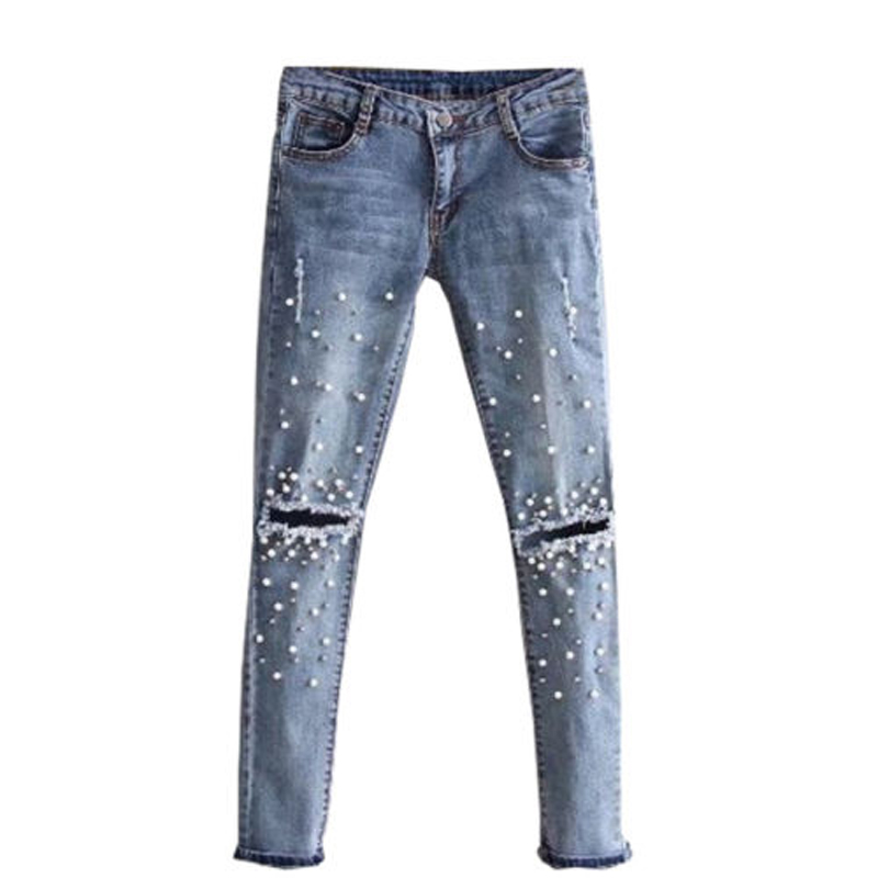 2018 Newly Women Fashion Casual Jeans Beading Hols Blue Button Fly High Waist Skinny Slim Pencil Pants