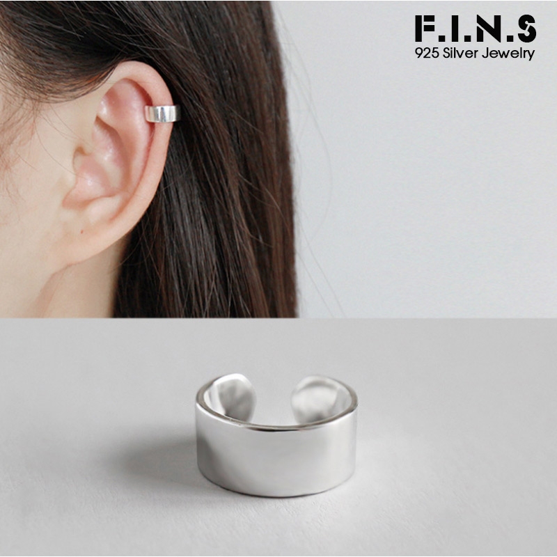 F.I.N.S 1pcs 925 Silver Clip On Earrings Fashion Simple Ear Cuff Silver 925 Clips Earrings Without Pierced Single Ear Clip