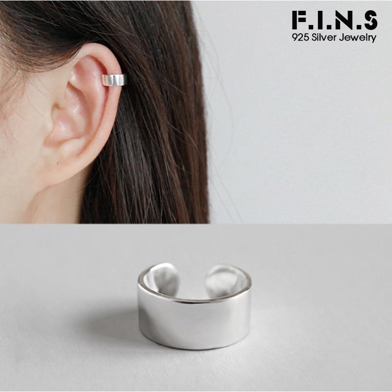 F.I.N.S 1pcs 925 Silver Clip On Earrings Fashion Simple Ear Cuff Silver 925 Clips Earrings Without Pierced Single Ear Clip