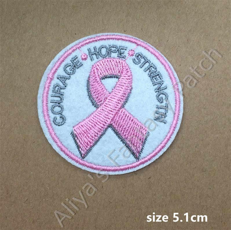 1 pz Nastro Rosa Coraggio Speranza Forza ricamato il ferro sulle zone di stoffa accessori di abbigliamento popolare cappello sacchetto Patches Appliques