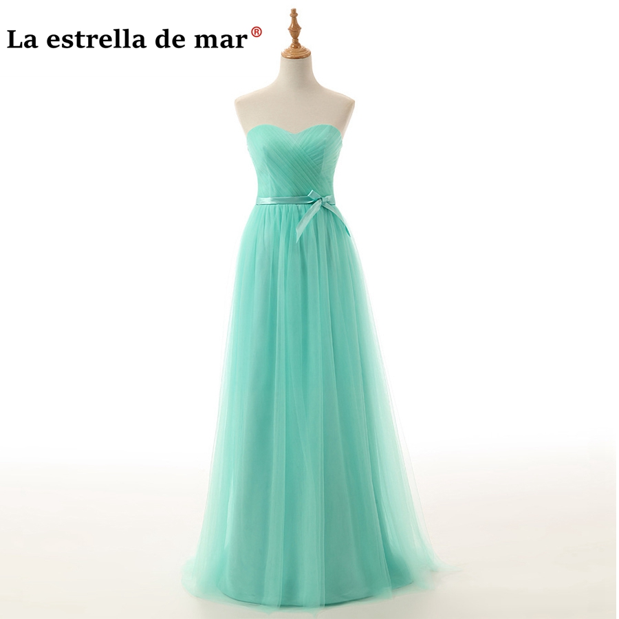 Vestido madrinha2018 new Tulle Off the Shoulder a Line light purple mint green   bridesmaid     dresses   real photo dama de honor cheap