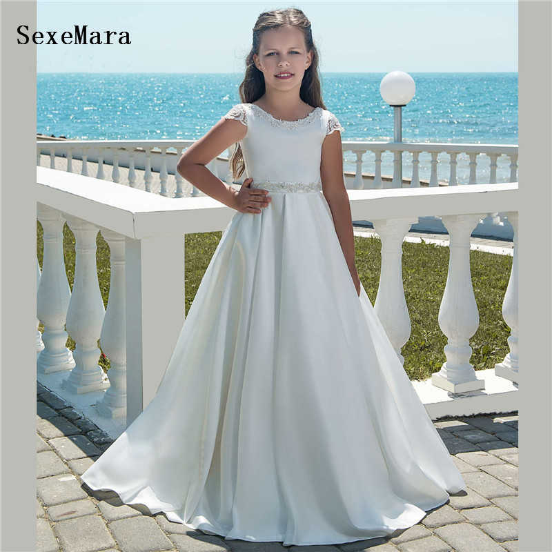 White Satin   Flower     Girl     Dresses   For Weddings O Neck Ankle Length Lace Back Vestido De Daminha   Girls   First Communion Gown