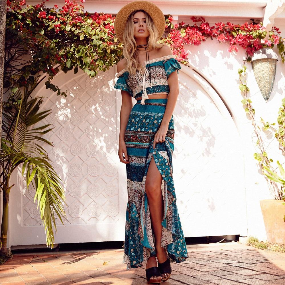 Khale Yose Summer 20 Piece Set Women's Floral Printed Two Piece Bohemian  Chic Skirt Suit Hippie Boho Crop Top Beach Sets Clothing