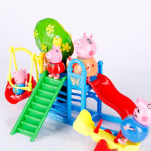 Peppa豚ジョージの家族のおもちゃ人形本物のシーンモデル遊園地pvcアクションフィギュアおもちゃ