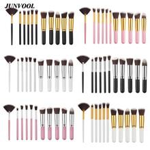 11pcs Fan Makeup Brush Set Mini Pink Synthetic Kabuki Cosmetics Foundation Blending Blush Brush Make Up Tools Silver/gold