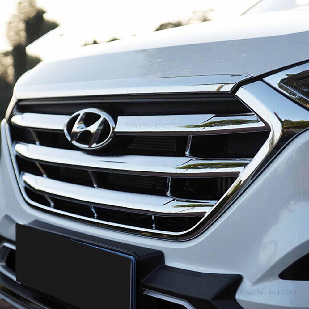 ACEOLT ABS Silver Plating Car Chrome Front Hood Bonnet Grille Lip Molding Cover Trim for Hyundai Tucson 2015-2018