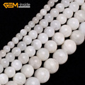 Gem-inside 6-14mm Natural Stone Beads Round Smooth Moonstone Beads For Jewelry Making Beads 15inch DIY Beads Jewellery