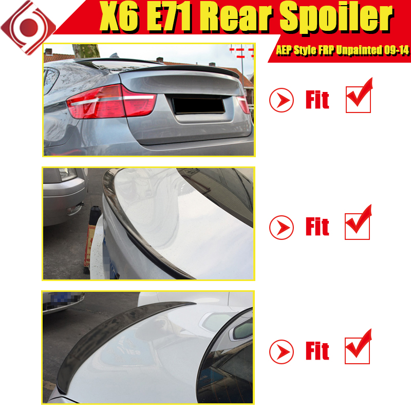 X6 E71 Spoiler stem lip Wing P style FRP Unpainted For BMW X Series E71 Auto Car rear trunk diffuser stem Spoilers 2009 2014 in Spoilers Wings from Automobiles Motorcycles