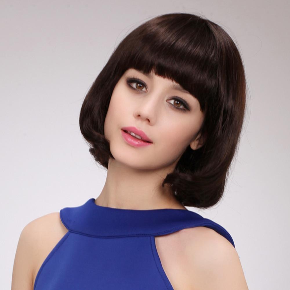 BLONDE UNICORN 10 tum kvinnor syntetisk Bob Wig med platta Bangs End - Syntetiskt hår - Foto 3