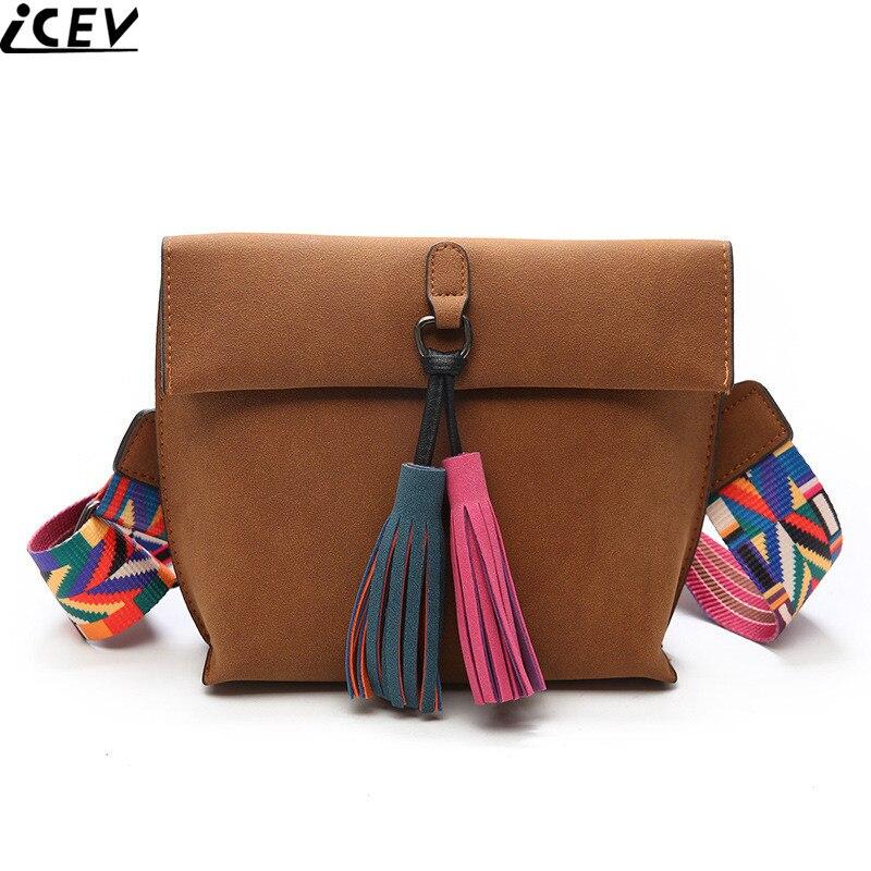 ICEV 2018 winter new color shoulder strap small flap day clutch women messenger bag matte leather crossbody bag tassel envelope