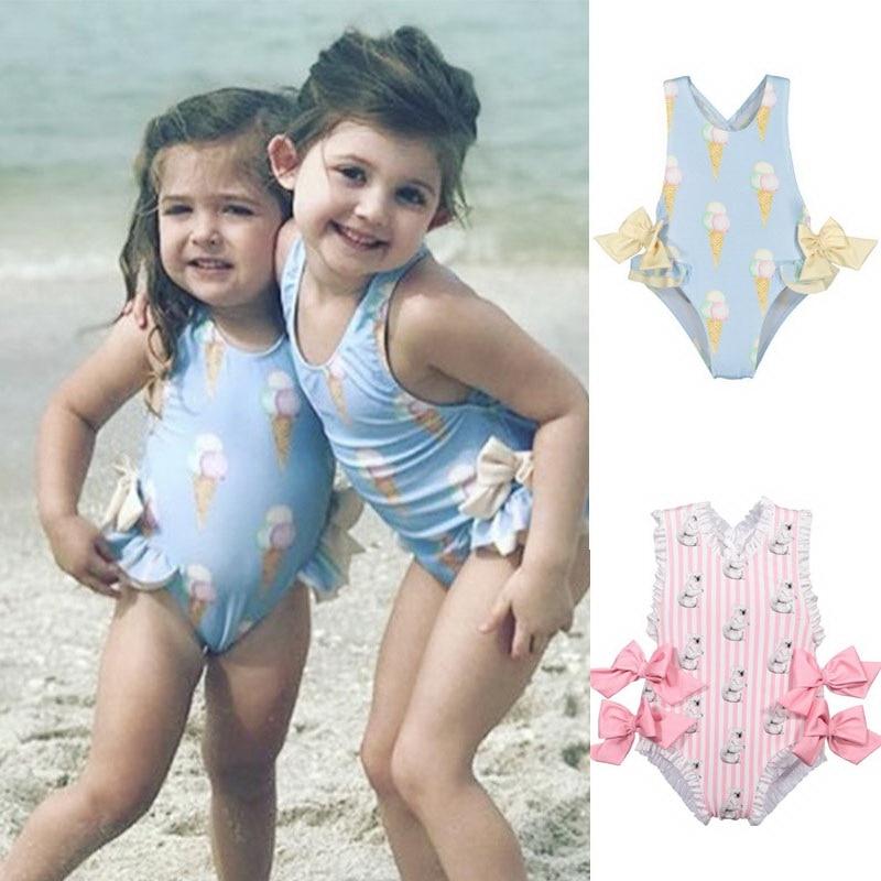 Retail Baby Girls Beautiful Swimming Wear Suits Lovely Flamingo Ice cream Bear Giraffe Swimsuits Child Fashion Swimwear E10002Clothing Sets   -