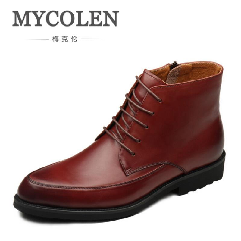 MYCOLEN Autumn Winter Men Boots New Fashion British Style Men Shoes Casual Fashion High-Cut Lace-Up Leather Boot Chaussure Homme mycolen new autumn winter men black casual shoes men high tops fashion hip hop shoes zapatos de hombre leisure male botas