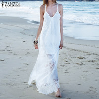 ZANZEA 2016 Womens Summer Beach Wear Maxi Dress Plus Size 5XL Fashion Cream White Deep V