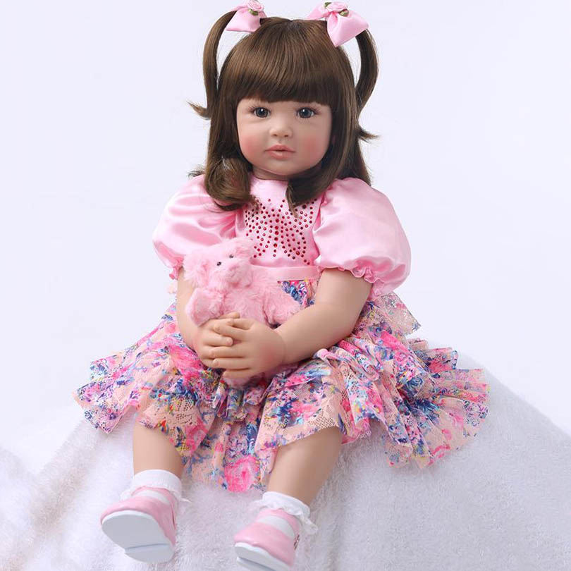 Baby Girl Doll 60cm Silicone Reborn Baby Lifelike Elegant Long Hair Princess Doll with Bear Birthday Gift Girl Brinquedos kawaii silicone reborn baby dolls accompany sleeping baby doll lifelike elegant princess baby gift brinquedos with clothes