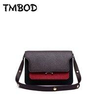 NEW 2018 Celebrity Trunk Panelled Messenger Bags Women Cowhide Split Leather Handbags Ladies Crossbody Bag bolsa an330