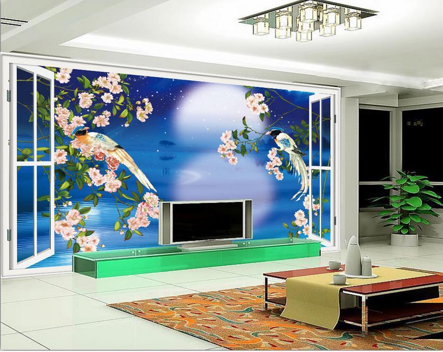 Custom 3d Photo Wallpaper 3d Wall Murals Wallpaper Hd: Custom 3d Photo Wallpaper Room Mural Window Flower Bird