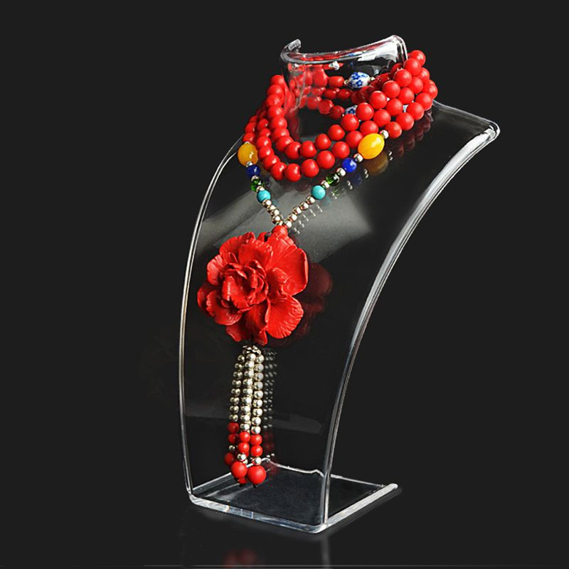 Jewelry Display Bust Clear Acrylic Mannequin Jewelry Holder Earring Necklace Display Stand 10PCS SET