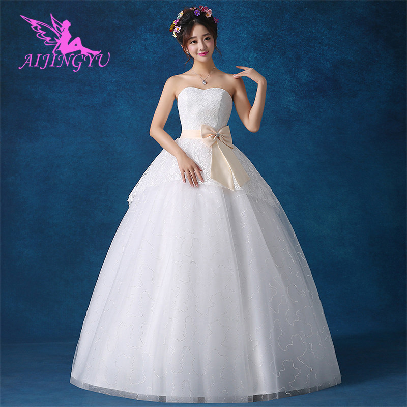 AIJINGYU 2018 Sweet Free Shipping New Hot Selling Cheap Ball Gown Lace Up Back Formal Bride Dresses Wedding Dress FU290