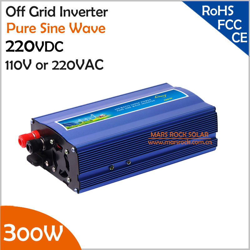 220V DC to AC Off Grid Inverter, 300W Pure Sine Wave Inverter , Surge power 600W Singel Phase Inverter for Solar or Wind System wind power generator 400w for land and marine 12v 24v wind turbine wind controller 600w off grid pure sine wave inverter