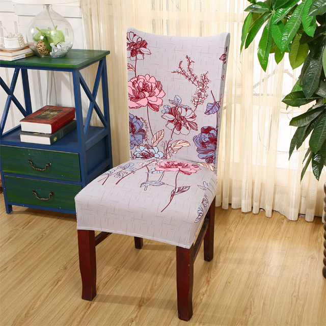 אלסטי סטרץ פוליאסטר עטיפות גן סודי מודפס כיסא מכסה לחתונות המפלגה אירועים כיסא אוכל מכסה V20