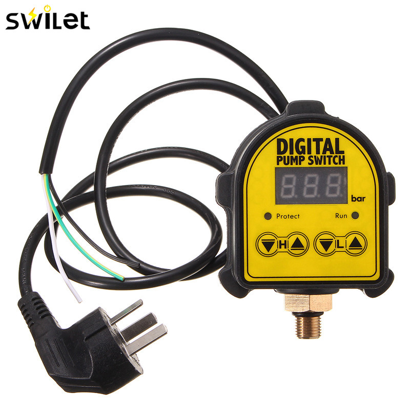 SWILET Digital Automatic Air Pump Water Oil Compressor Pressure Controller Switch For Water Pump On/OFF 15 140psi 1 port pressure switch controller valve for air water compressor pump